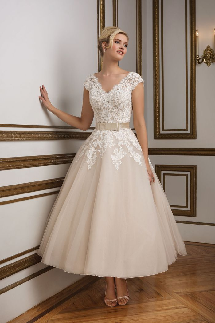 Style 8815 Vintage Inspired Champagne Tulle Tea Length Bridal Gown Justin Alexander