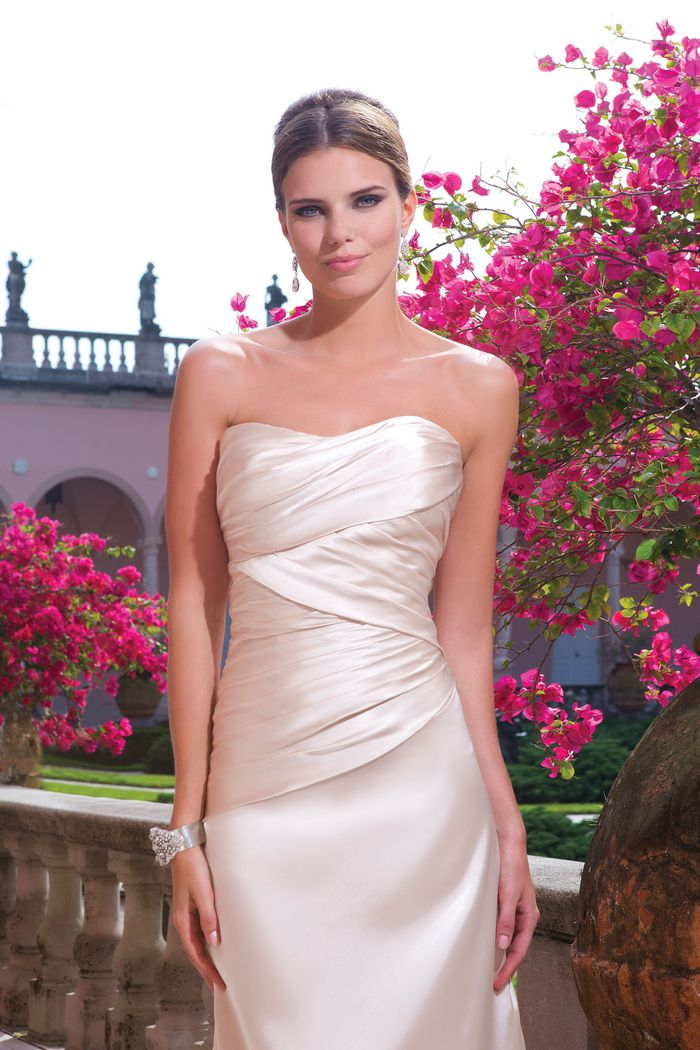 Sweetheart Gowns Style 6049 Strapless charmeuse fit and flare dress