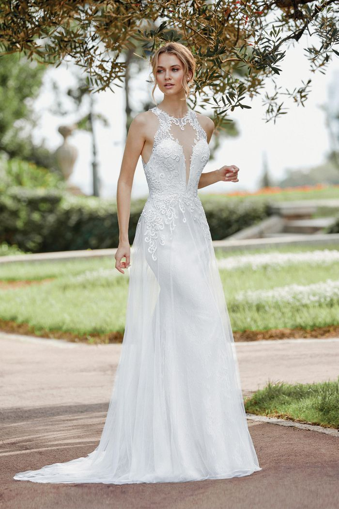 Sincerity Bridal Style 44133 Jewel Neckline Gown with Venice and Chantilly Lace