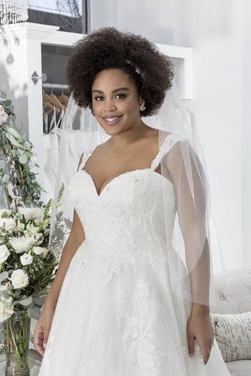 Sincerity Bridal Style 44200PS Sequined Lace Plus Size Ball Gown with Sweetheart Neckline