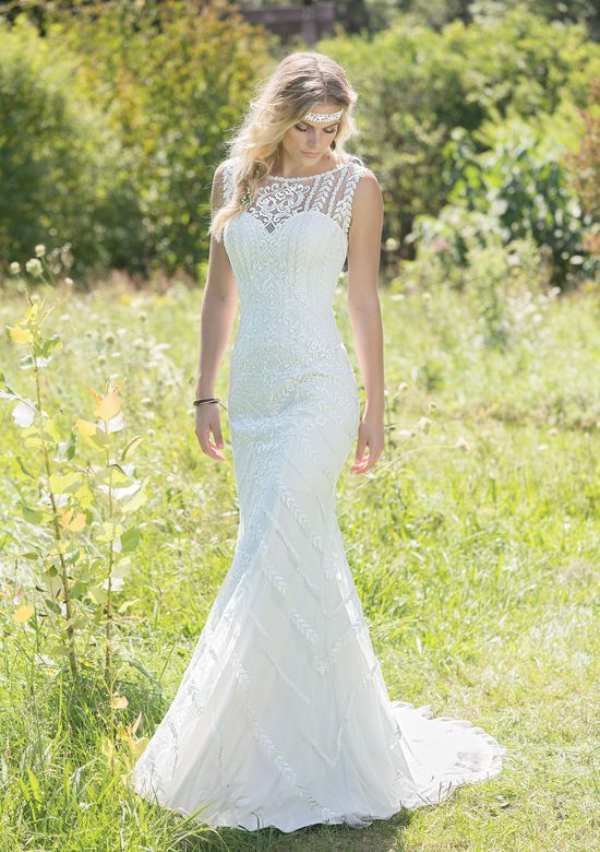 Lillian West Fit and Flare Gown with Sabrina Neckline and Lace Trim