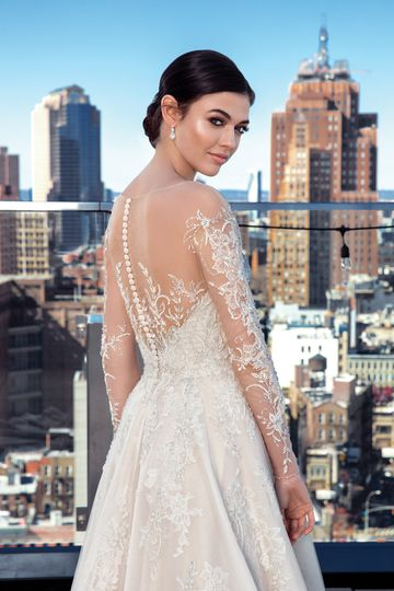 Justin Alexander Signature Style 99029 Illusion Beaded Sabrina Long Sleeve Dress