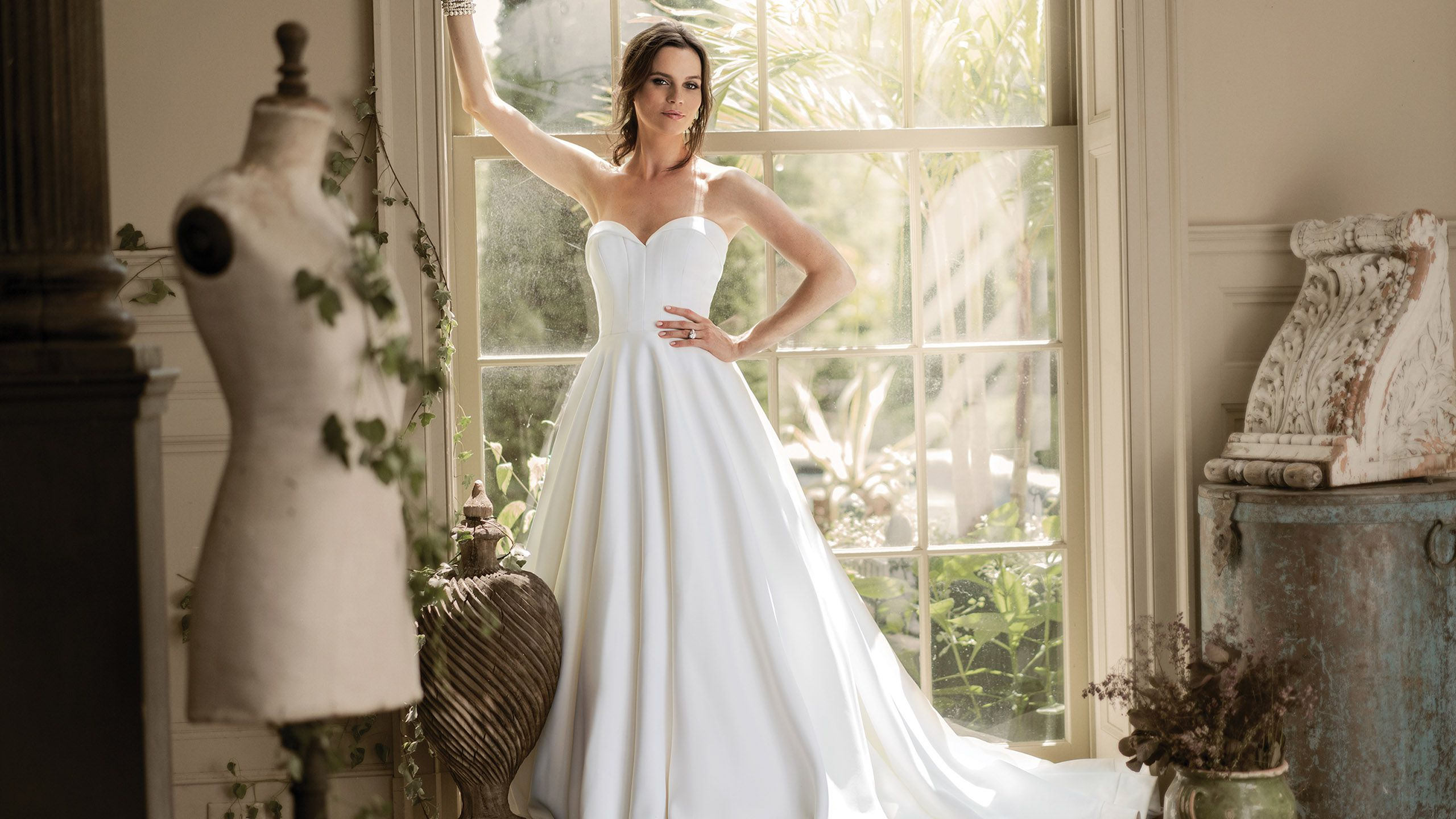 - Style 9904: Satin Ball Gown with Folded Collar Sweetheart Neckline