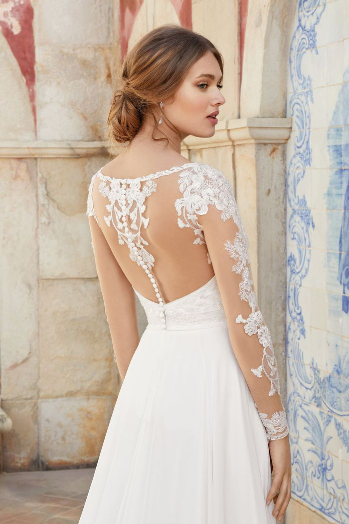 Sincerity Bridal Style 44226 Long Sleeve A-Line Gown with Illusion Back and Chiffon Skirt