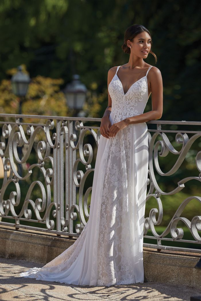 Sincerity style 44143 Chiffon Gown with Beaded Alençon Lace Detail