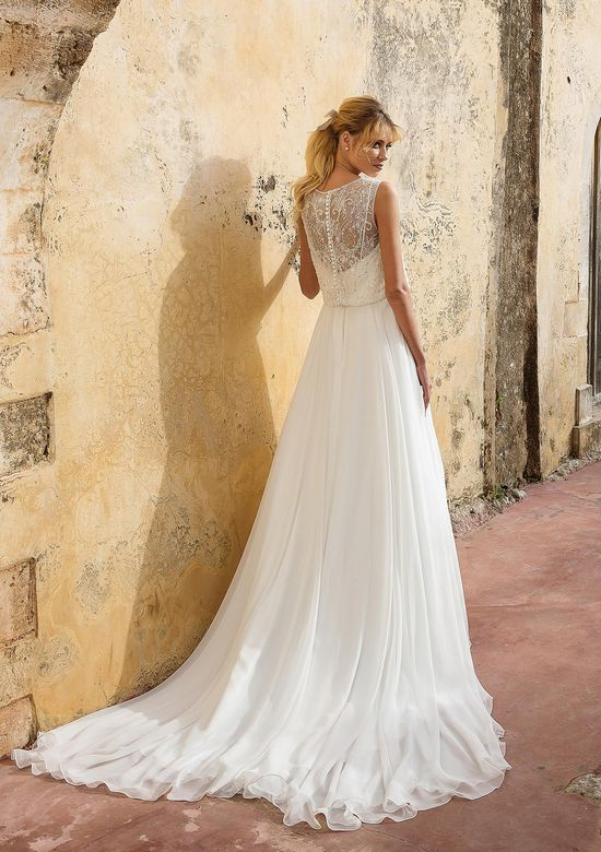 Justin Alexander Style 88039 Sleeveless A-line Gown with Beaded Blouson Bodice