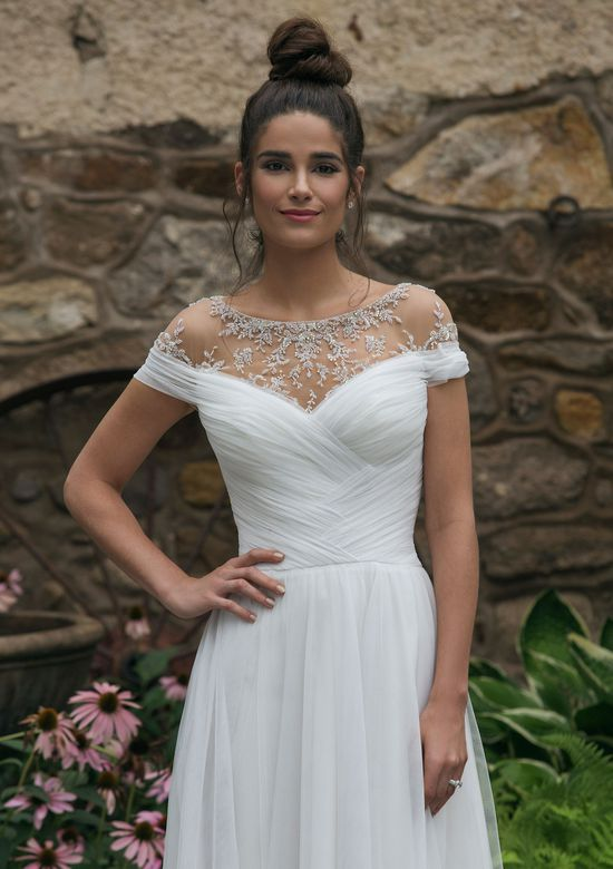 Sincerity Bridal Style 44068 Off the Shoulder A-Line Gown with Beaded Neckline
