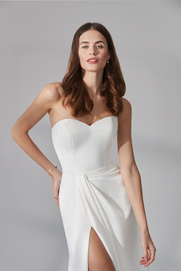 Justin Alexander Signature Style 99171 Garrison Charmeuse Column Dress with Sweetheart Neckline and Sarong Skirt