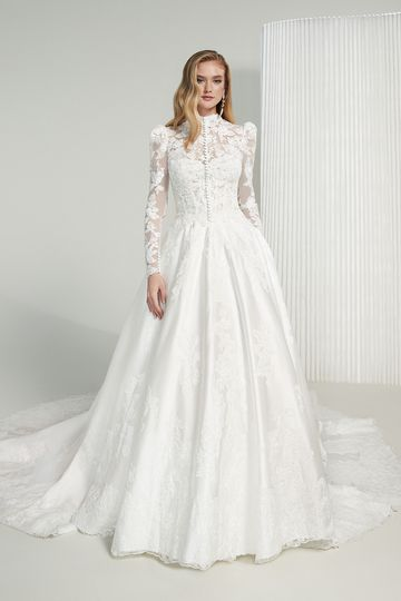 Justin Alexander Signature Style 99228 Elizabeth Satin Ball Gown with Exposed Boning and Sequined Lace Appliqués