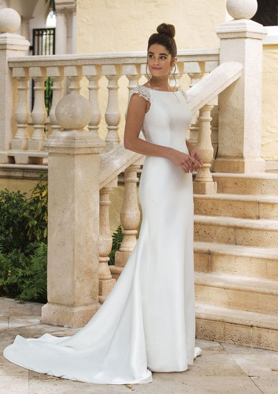 Sincerity Bridal Style 44081 Fit and Flare Gown with a Low Illusion Lace Back