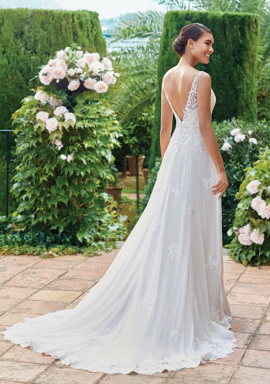 Sincerity Bridal Style 44216 Chiffon A-Line Gown with Sabrina Neckline and Sequined Lace