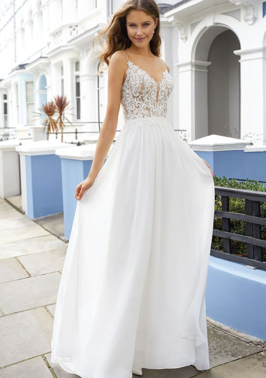 Adore by Justin Alexander Style 11107 Chiffon A-Line with Spaghetti Straps and Plunging Neckline