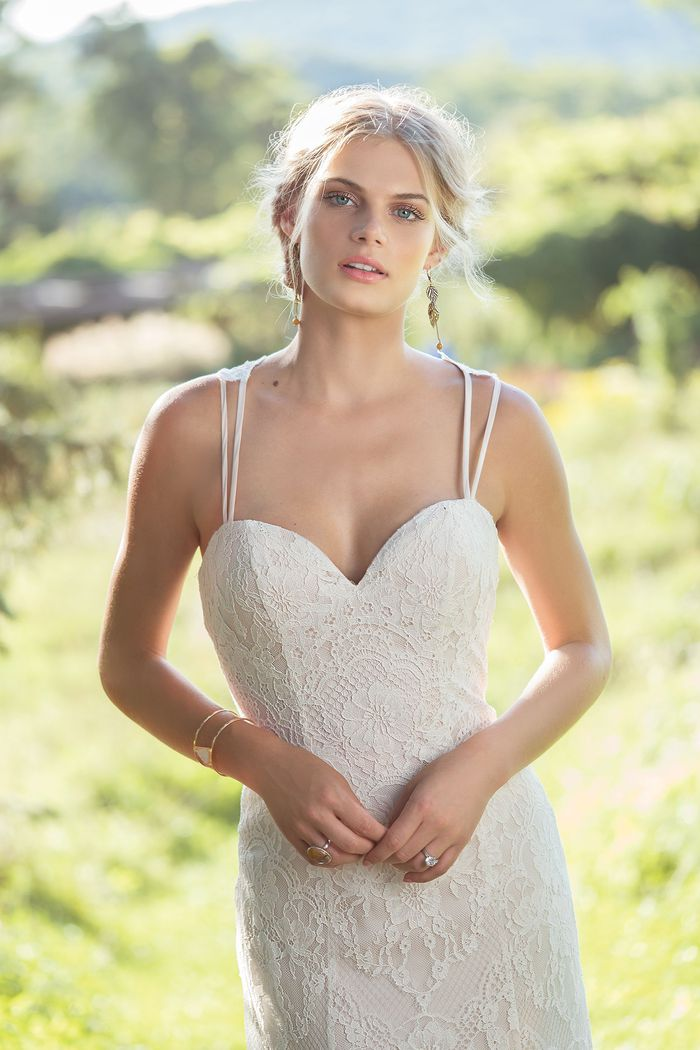 Lillian West Style 6489 Chantilly Lace A-Line with Sweetheart Neckline and Spaghetti Straps