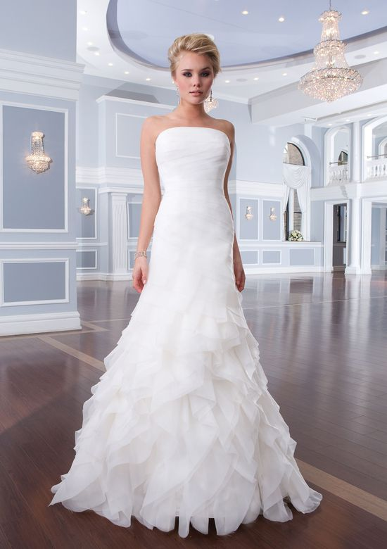 Lillian West Style 6296 Strapless Organza A-Line Ruffle Gown
