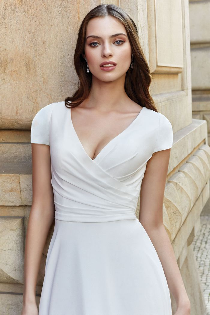 Adore by Justin Alexander Style 11153 Georgette Dress with Ruched Bodice and Cap Sleeves