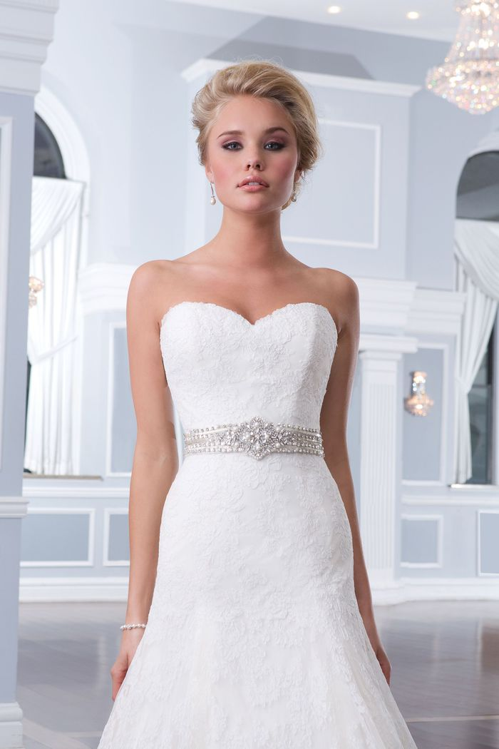Lillian West Style 6293 Lace Gown with Drop Waist and Sweetheart Neckline