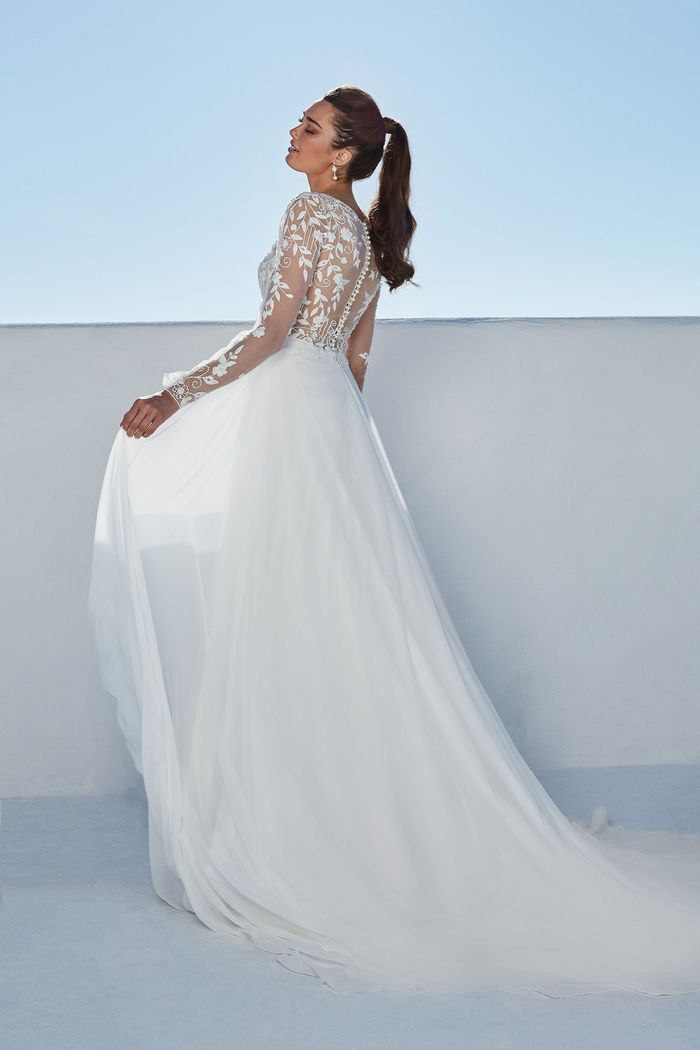 Justin Alexander Style 88182 Braelynn Chiffon Skirt A-Line Gown with Illusion Back and Pearl Buttons