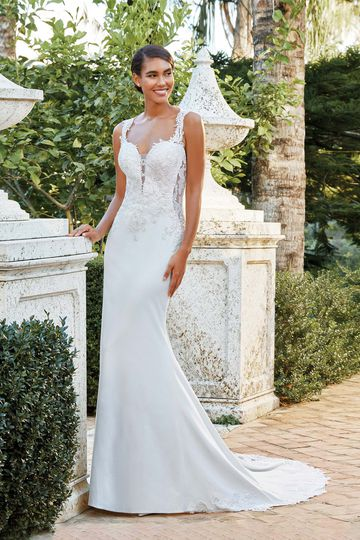 Sincerity Bridal Style 44196 Crepe Gown with Side Cutouts and Illusion Lace Train