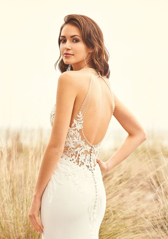 Lillian West Style 66092 Illusion Bodice Fit and Flare Gown