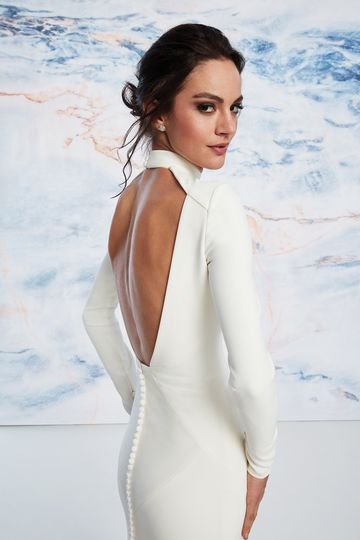 Justin Alexander Signature Style 99055 High Neck Fit and Flare Crepe Dress with Open Back