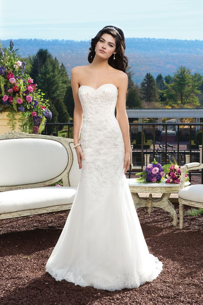 Sincerity Bridal Style 3814 Beaded lace fit and flare dress with a sweetheart neckline