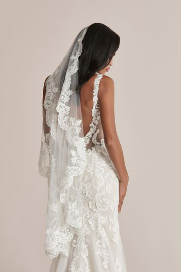 Justin Alexander Style 88218V Cayden Veil Waltz Length Veil with Beaded Scalloped Lace