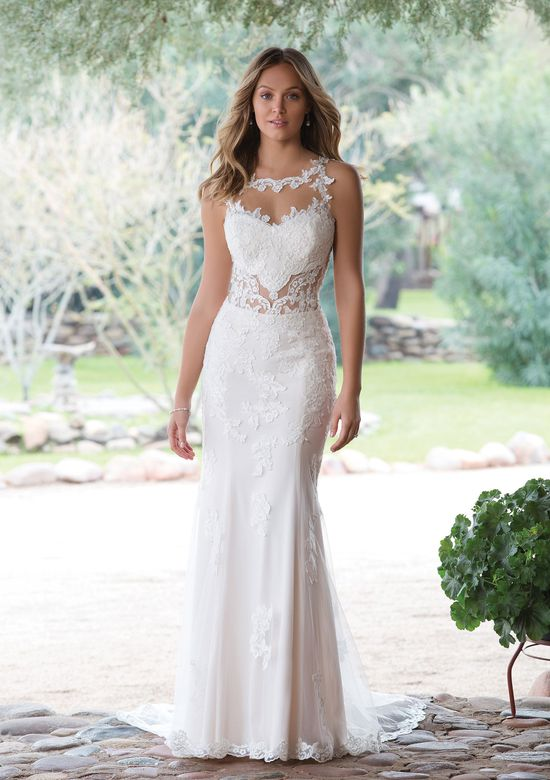 Sweetheart Gowns Fit and Flare Gown with Illusion Cut-Out at Waist