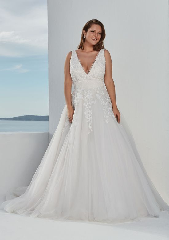 Justin Alexander Style 88100 Venice Lace Covered Ball Gown