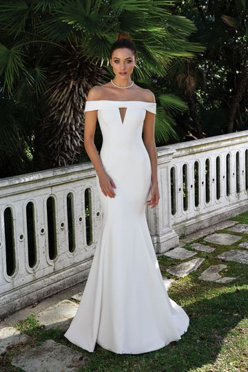 Justin Alexander Style 88115 Crepe Off the Shoulder Gown with Cut Out Detail
