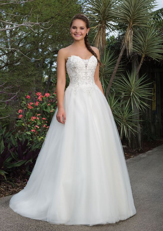 Sweetheart Gowns Style 6110 Beaded Lace, Tulle Ball gown accentuated by a Sweetheart neckline