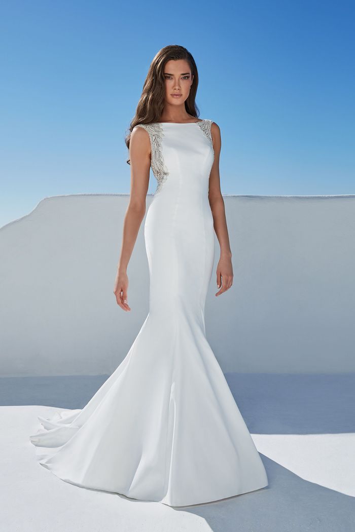 Justin Alexander Style 88173 Bruna Beaded Crepe Fit and Flare Gown with Sabrina Neckline