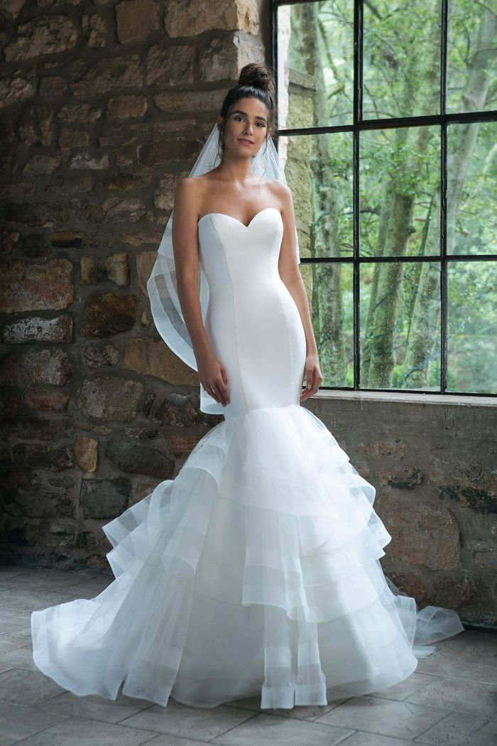 Sincerity Bridal Style 44047 Sweetheart Satin and Layered Tulle Mermaid Gown