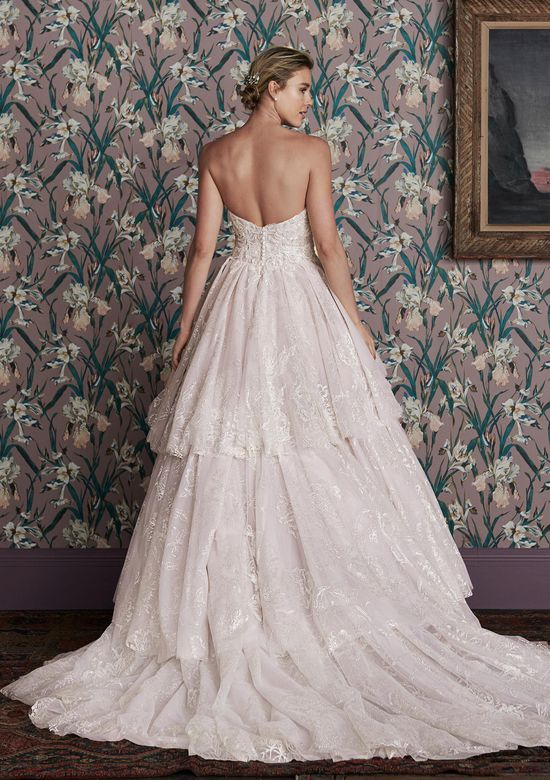 Justin Alexander Signature Style 99165 NINA Plunging Sweetheart Ball Gown with Asymmetric Tiered Skirt
