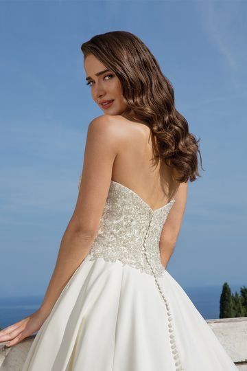 Justin Alexander Style 88075 Strapless Ball Gown with Allover Beaded Bodice and Satin Skirt