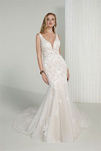 Justin Alexander Signature Style 99212 Jane Lace Fit and Flare Wedding Gown with Plunging V-Neck and Low Back
