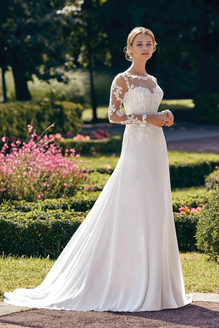 Sincerity Bridal Style 44145SL Detachable Tulle and Lace Long Sleeves