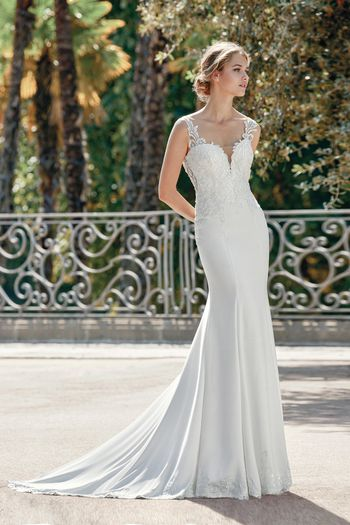 Sincerity Bridal Style 44109 Crepe Fit and Flare Gown with Sequined Venice Lace