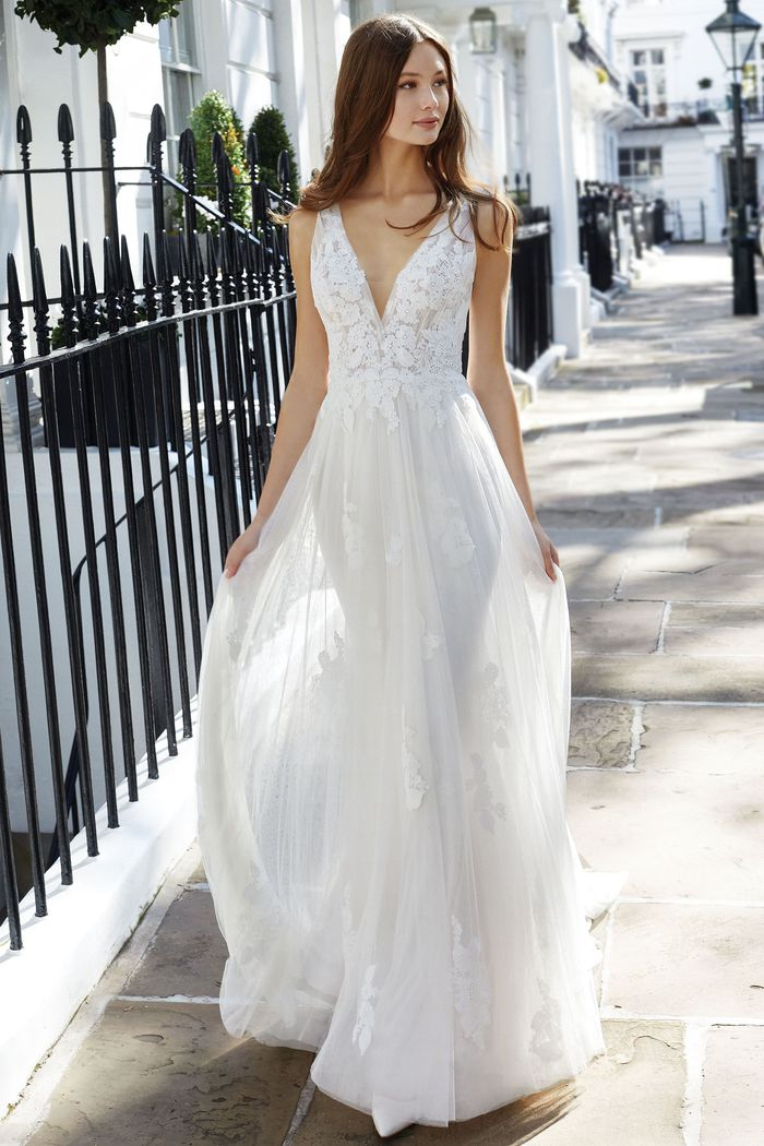 Adore by Justin Alexander Style 11132 English Net A-Line Gown with Embroidered Floral Appliques