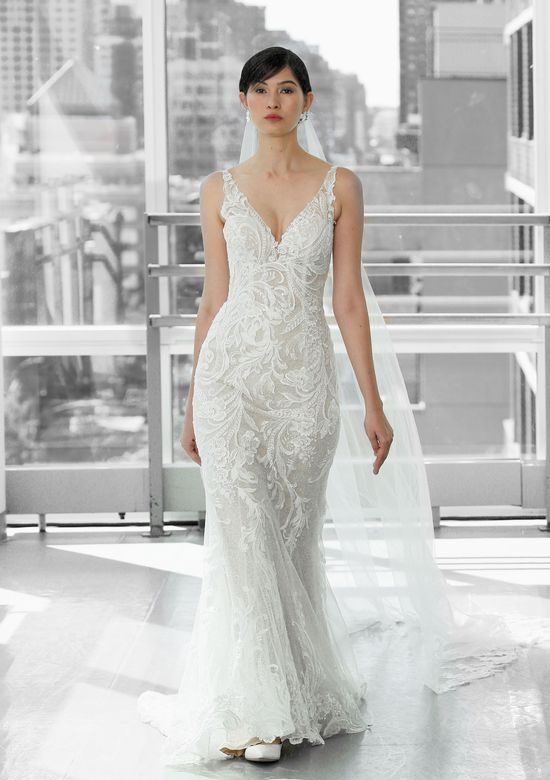 Justin Alexander Signature Style 99130 RAINEY Lace Illusion Dress with V-Neck and Sequined Lace Underlay
