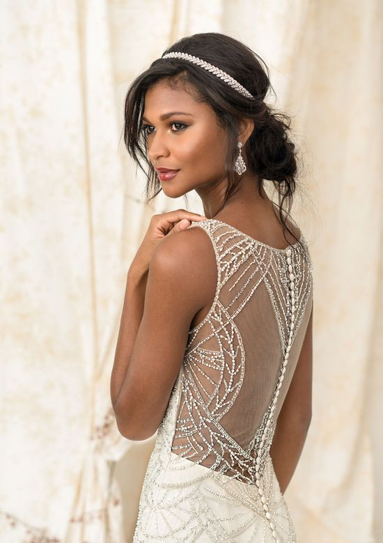 Justin Alexander Signature Style 9897 Art Deco Beaded Mermaid Gown with Illusion Back