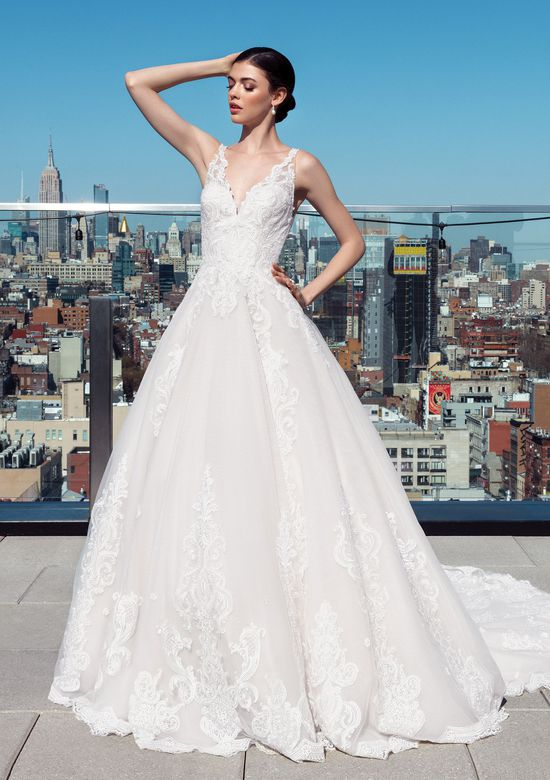 Justin Alexander Signature Style 99025 V-Neck Sequined Lace Ball Gown with Illusion Back