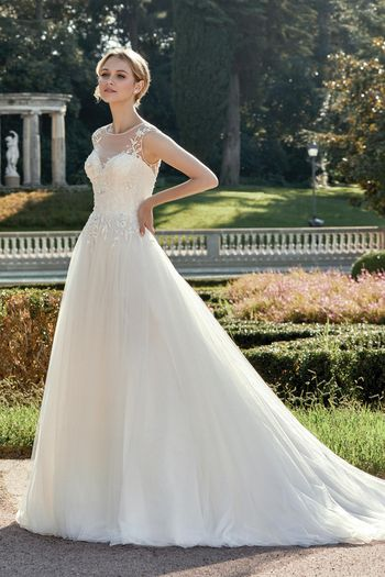Sincerity Bridal Style 44125 Delicately Beaded A-Line Gown with Sweep Train