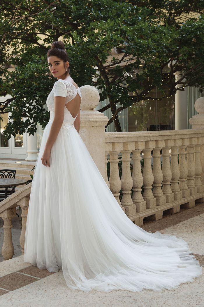 Sincerity style 44089 V-Neck Gown with Soft English Net Tulle