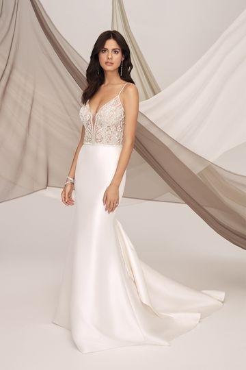 Justin Alexander Signature Style 99123 CHELSEA Stretch Mikado Fit and Flare Dress with  Beaded Bodice and Bow