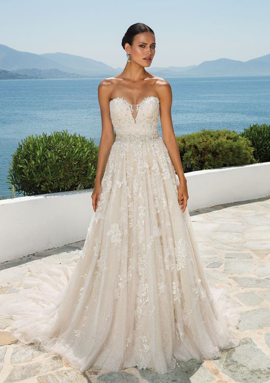 Justin Alexander Textured Lace Dress with Dimensional Flowers Sweetheart Neckline