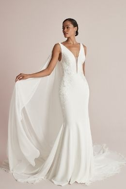 Justin Alexander Style 88202 Cora Crepe Fit and Flare Dress with Lace Appliqués and Plunging V-Neck