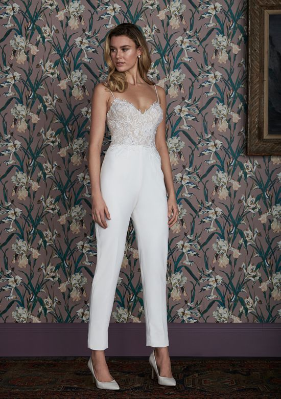 Justin Alexander Signature Style 99140 TATUM JUMPSUIT Stretch Crepe Jumpsuit with Beaded Chiffon Appliques