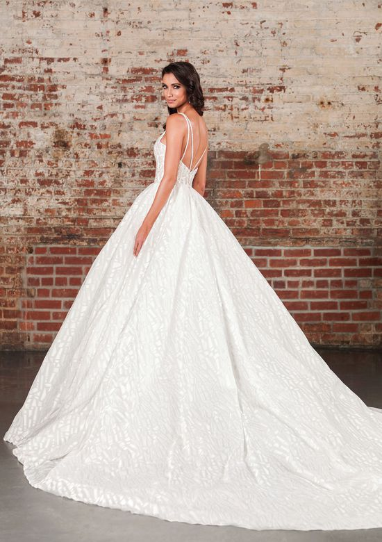 Justin Alexander Signature Style 9864 Liquid Beading and Crystal Adorned Voluminous Ball Gown