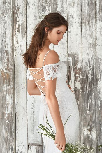 Lillian West style 66047 Off the Shoulder Fit and Flare with Open Corset Back