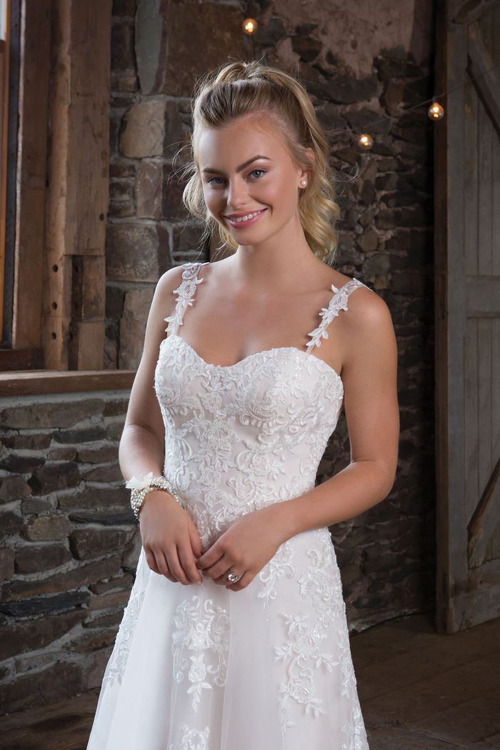 Sweetheart Gowns Style 1120 Sequined Lace A-line Dress with Detachable Straps